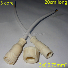 3 core waterproof lighting pigtails;20cm long each;male and female 13.5mm series