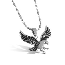 1pcs Silver Color Eagle Hawk Falcon Animal Pendants Necklace Link Chain for Men Fashion Titanium Stainless Steel Jewelry F8065(China)