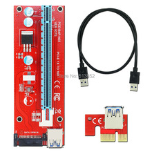 VER 007S Red PCI-E 1X to 16X Riser Card Extender PCI Express Adapter USB 3.0 Cable / 15Pin Professional SATA Power Supply