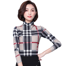 Buy Women Tops Blouses 2017 Autumn Long Sleeve Mesh Tunic Plaid Blouse Checked Shirts Plus Size Women Clothing Blusas Femininas for $11.04 in AliExpress store