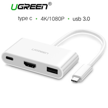 Ugreen USB C HUB to HDMI VGA Adapter USB Type C 3.0 to USB 3.0 Hub Female Converter for Macbook Chromebook Pixel Type-c Adapter(China)