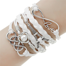 2016 new fashion jewelry infinite double leather multilayer Charm  bracelet factory price for woman jewelry wholesale