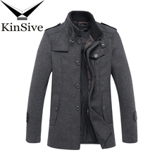 KinSive Top Design Jacket Wool Coat Men Business Casual Medium Long Wool Blends
