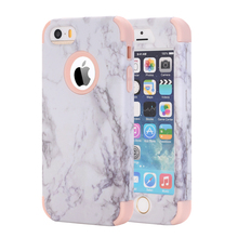 Cases for iPhone 5 5S SE,Popular Marble Design Hard PC+Soft Silicone Full Body Protective Cover Hybrid Shockproof Phone Fundas(China)
