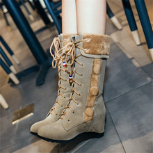 plus size 34-43 new women autumn and winter retro fashion snow boots Height Increasing warm cotton boots lace up mid calf boots