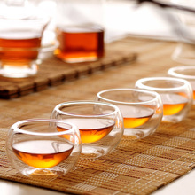 Free shipping double walled glass tea cup 50ml*6pcs,Double Layer Glass Tea cup,pint glass cup(China)