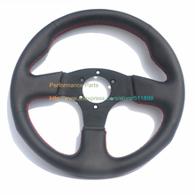 13inch/330mm Leather Flat Steering Wheel Universal Racing Car Steering Wheel Red Stitch(China)