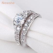 Newshe AAA CZ Pure 925 Sterling Silver Wedding Ring Set Engagement Band Trendy Jewelry For Women(China)