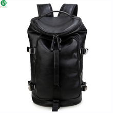 "Unique design high quality leather man backpacks men travel bag duffel bag black 15.6"" mochila men shoulder school bags backpack"