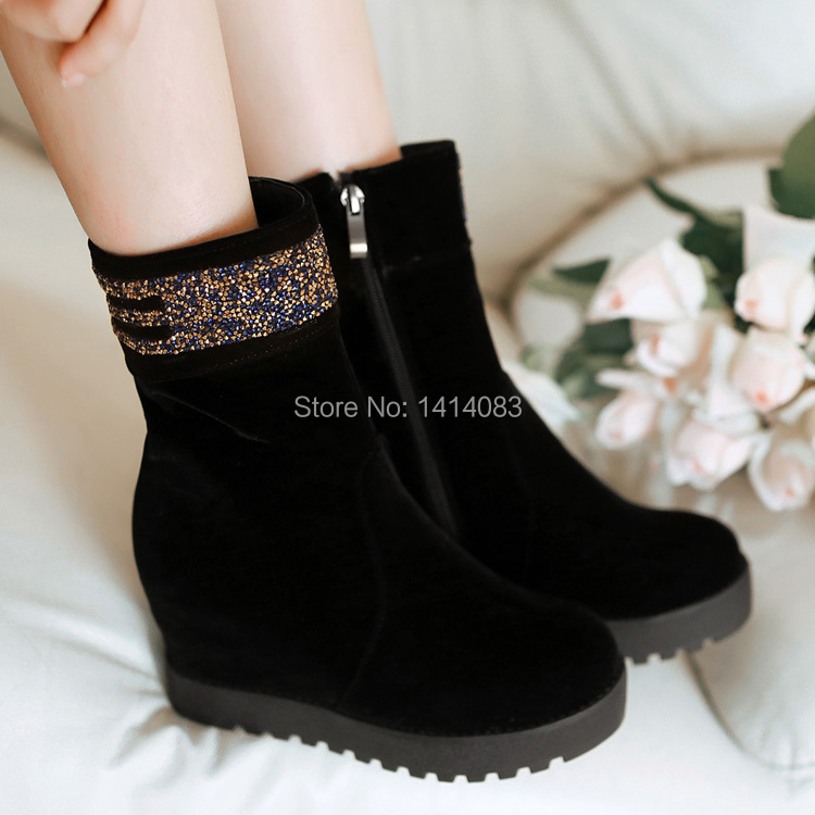 South Korean style comfortable ankle boots colours rhinestone adornment side zipper increased high heel fashion boot women boots<br>