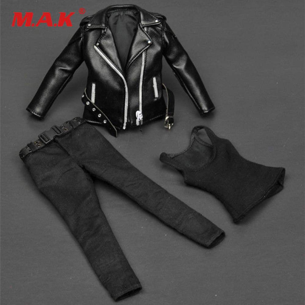 Female Clothes T-800 1/6 Women Black Leather Jacket ZY15-19 for 12 Action Figure Toys Accessories<br>