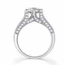 2CT Gorgeous Paved Around SONA Best Fire Round Diamond Ring S925 Engagement Women Sterling Silver Jewelry 18K White Gold Wedding(China)