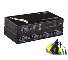 MT-471C-L 4 Ports KVM switch PS/2 PS2 KVM Auto with cables, Support wide screen 1920*1440