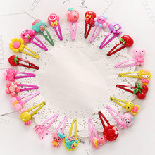 10 Pcs/lot Cartoon Beads Candy Color Hair Clips & Ropes Girls' Hair Ties Kids BB Hairpin Accessories(China)