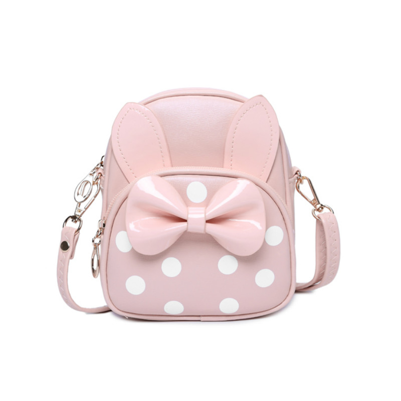 Baby Girls School Cartoon Bag Shoulder Bags Kids Rabbit PU Leather Mini Backpack