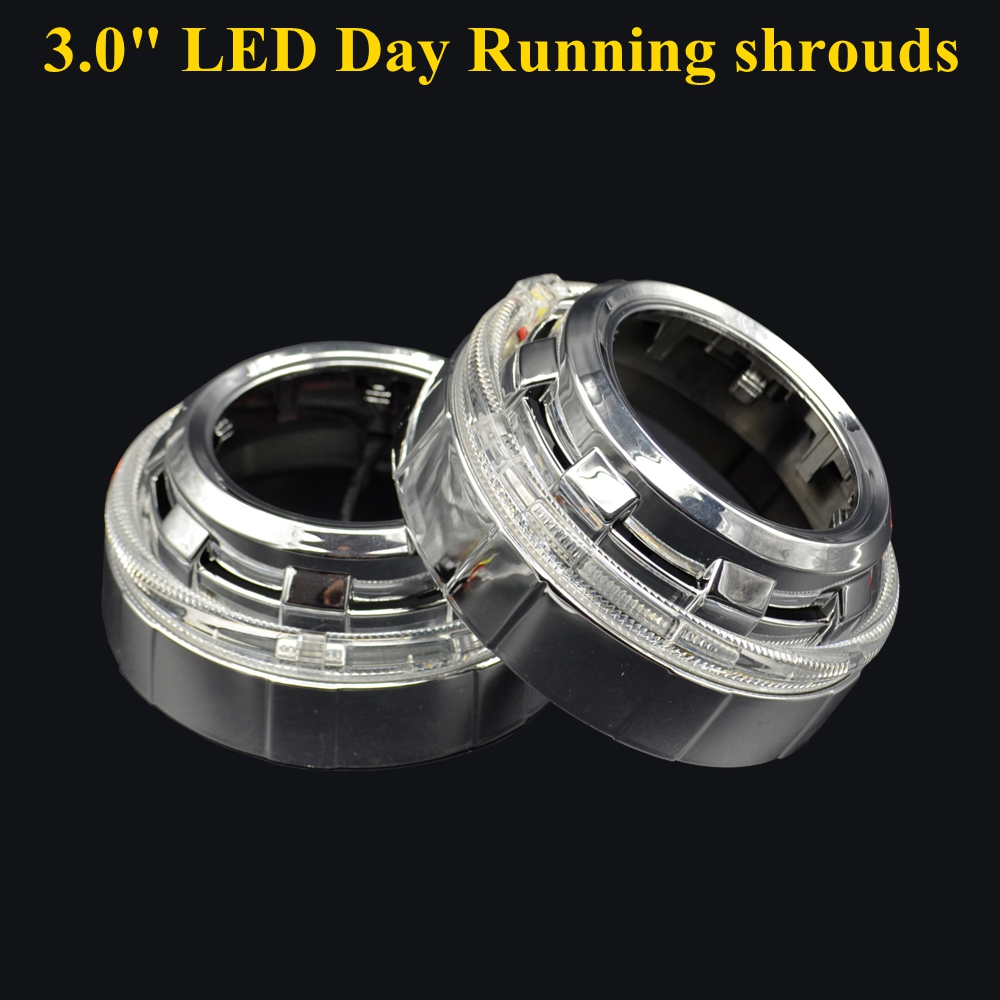 2pcs 3.0 inch for range rover  led day running angel eyes  Projector lens shrouds white color H1 H4 H7 hid xenon kit headlight <br>