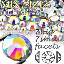 1100Pcs/Lot Mix Sizes Clear AB Round Acrylic Resin Non Hotfix Flatback Rhinestone 2mm 3mm to 7mm for 3D Nail Art Crystal Stones