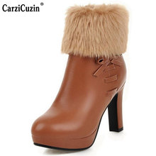CarziCuzin Women Shoes Round Toe Thin Heels Laies Boots Butterfly-Knot Zipper Plush Elegant Office Work Footwear Size 32-43(China)