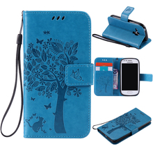 For coque Samsung S3 Mini case For Fundas Samsung Galaxy S3 Mini i8190 3D Tree Cat Pattern Wallet Magnet Flip Cover Leather Case(China)