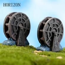 2 Pcs/lot Mini Vintage Waterwheel Miniature Fairy Garden Home Decoration Houses Craft Micro Landscaping Decor DIY Gift