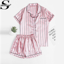 Sheinside Pinstripe Revere Collar Satin Pajama Set 2017 Pink Short Sleeve Button Pockets Pajama Sets Women Elegant Nightwear(China)