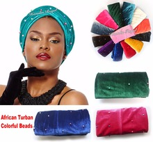 10 pieces Beaded quality Stretchy Velvet Turban African Head Wrap Scarf with colorful beads free shipping by DHL