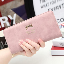 Lady Bow women's Wallet Coin Purses Brand card holder magic wallet Zipper women's fashion purses Small Female Long purse Clutch(China)