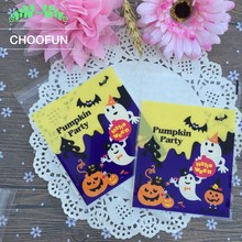 100pcs/lot Halloween Pumpkin Party Self adhesive Pastry Cookie Baking Plastic Bag OPP Halloween Gift Candy Packaging Bags BZ188(China)