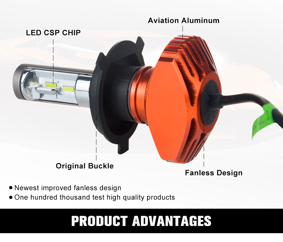 Aceersun H4 Hi Lo Car LED Headlight Bulbs 80W Fanless 12000LM 6500K CSP Led Auto Headlamp Fog Lamp Lighting Bulb 12v 24v HB2 H 4 (2)