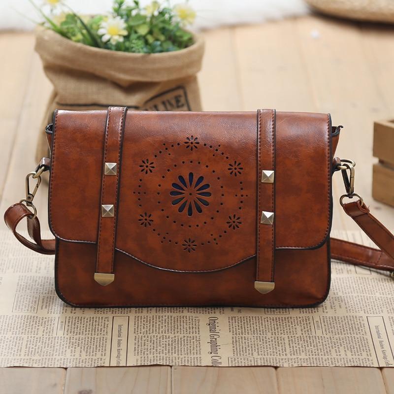 Women Vintage Handbags Ladies Tote Cross Body Shoulder Hollow Out England &amp; Preppy Style Postman Messenger Bag<br>