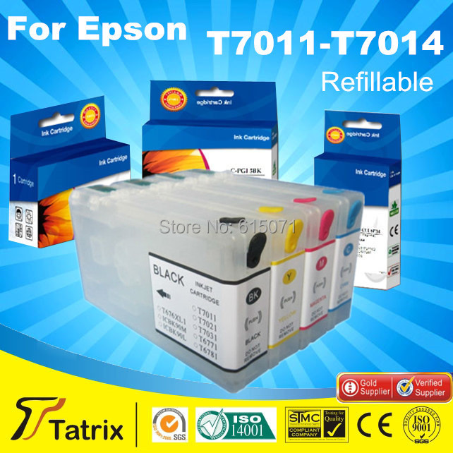 New hot sale empty refillable ink cartridge t7011-t7014 for epson workforce pro wp-4000 4015 4025 4500 ,free shipping<br><br>Aliexpress