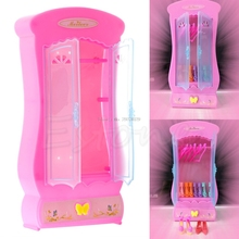1Pc Pink Closet Wardrobe For Doll Girls Toy Princess Bedroom Furniture -B116