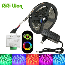 black Strip RGB SMD5050 RGB LED Strip Light 5M 30LEDS/M SMD Diode Tape LED Ribbon With RF Touch Remote Controller + adapte(China)