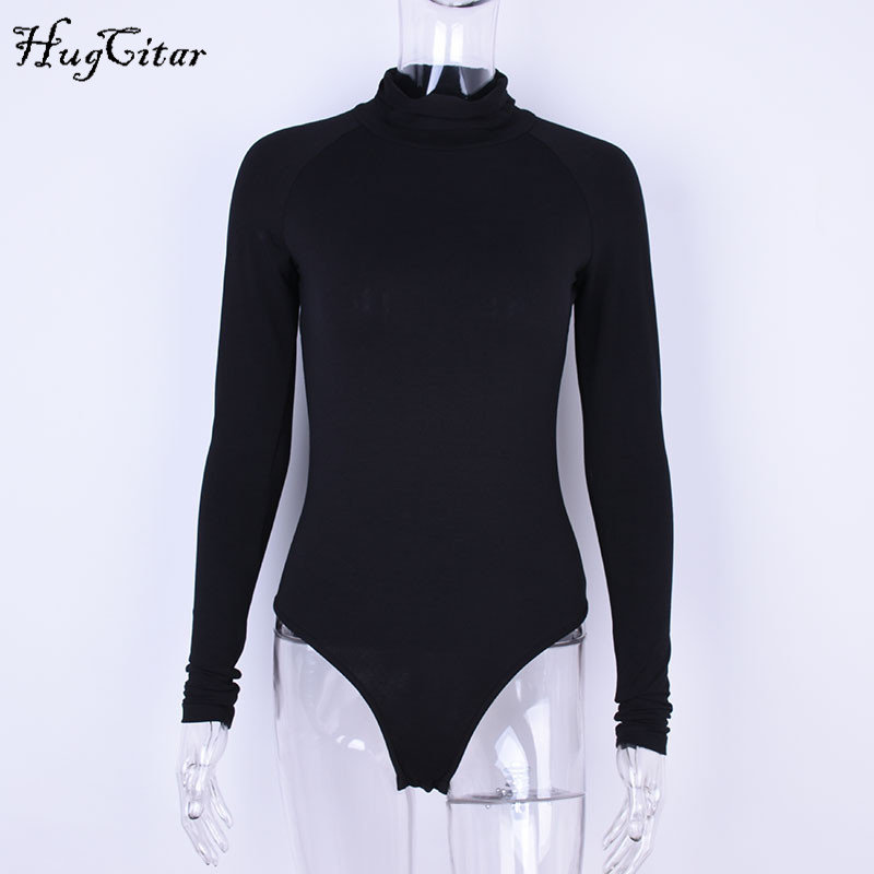 Cotton Long Sleeve, High Neck Bodysuit, Women's Solid Sexy Bodysuit 16