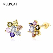 MEEKCAT Top Sale New Flower Earrings Gold Color Multicolor AAA Cubic Zircon stud Earrings For Women Wedding Party Bijoux Brincos