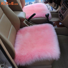 KKYSYELVA 1PCS Front Universal Car Seat Cover Pink winter Car Wool Cushion Plush Seat Pad Wool Mat for home office Chair