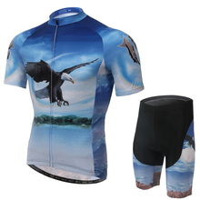 2016 XINTOWN Ropa Ciclismo Bike Men's Team Pink Sleeve Blue Eagle Suit Gel Riding cycling jersey Quick Dry shirt Shorts Wear Set