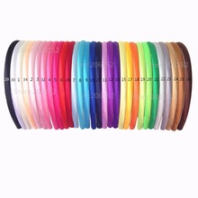 30pcs/lot Colored Satin covered Resin Hairbands,10mm Children Fabric Covered Headband Adult & Kids headbands(30 colors)(China)