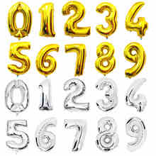 HOT32 inches Gold Silver Number Foil Balloons Digit Helium Ballons Birthday Decorations Wedding Air Baloons Event Party Supplies