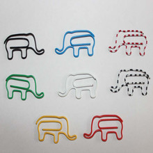 200PCS Creative Cute Cartoon Elephant Shape Paper Clips Funny Bookmark Colorful Animal Metal Clips Art craft office supplies