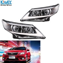 King Way-  Headlight LED Halo Projector Headlights Headlamp For 2012 2013 2014 Toyota Camry