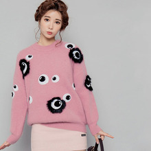Casual Tops Women High Street 2016 Early Spring Hot Sale Long Sleeve Eyes Appliques Warm Pink / Sky Blue New Designer Top