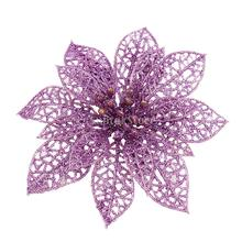 Hollow Hanging Glitter Flower Christmas Tree Wreath Party Home Decor Purple