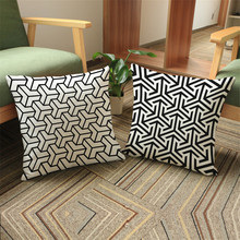 High quality Case Geometric white and black Pillowcase Cotton Linen Ethnic Pillow Cover Bedroom Throw Pillows sofa car home deco(China)