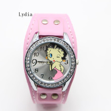 High Quality Wrist Watch for Women Leather Band Betty Boop Pattern White Stylish Watch(China)