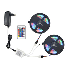 1set 5M Or 10M 2835 SMD RGB LED Strip light String Ribbon Decor lamp Tape + 24Keys Remote Controller + 12V 3A Power Adapter Kit(China)