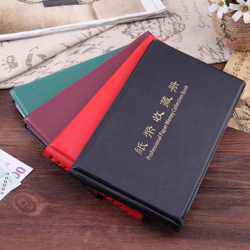 Banknote Currency Collection Album Paper Money Pocket Cash Collecting 30 Pages Wine Red