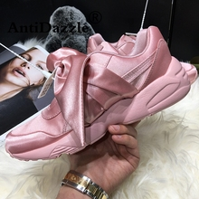 Antidazzle Women's Flat Platform Shoes Rihanna Goddess Shoes Bowknot For Women Female Footwear Round Toe running shose(China)
