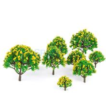 New Arrivals 2015 10 pcs HO Scale Models 5 Sizes Model Tree with Yellow Flower for Railroad Scenery/Diorama Free Shipping(China)