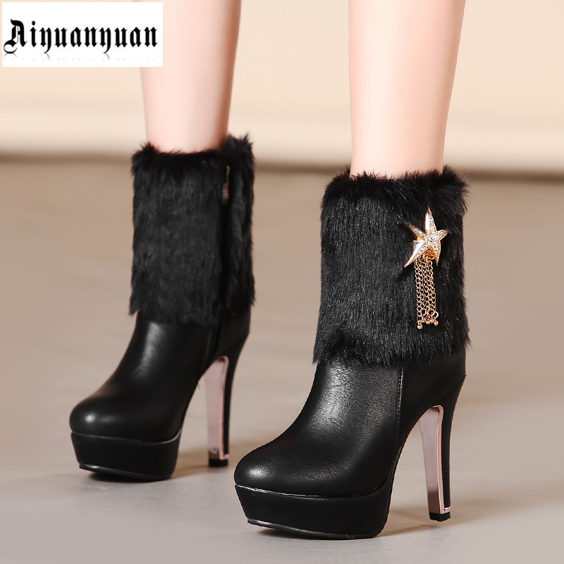 2017 high quality winter warm shoes European size 40 41 42 43 44 45 46 47 48 popular style  lady PU leather boots free shipping<br><br>Aliexpress
